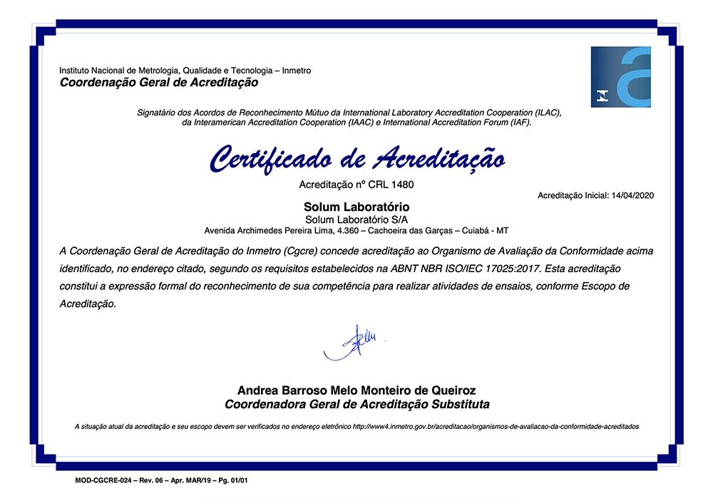 certificado solum de acreditação