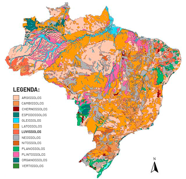 imagem mapa luvissolo no Brasil