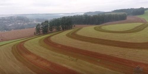 """uso de arados ou outros implementos, levanta-se uma quantidade significativa de terra distribuída em """"curvas de nível"""" que acompanham a declividade do terreno"""